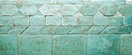 Turquoise enamelled bricks